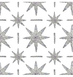Hand drawn crystals pattern abstract stars vector