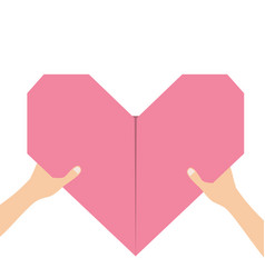 hands arms holding pink origami paper heart icon vector image