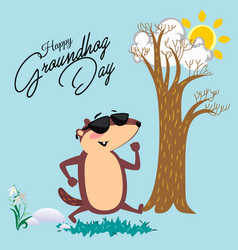 Happy groundhog day design with cute marmot in vector
