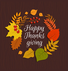 Happy thanksgiving autumn leaves november nature vector