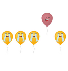 happy yellow air balloon fly from group on sed vector image
