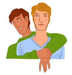 Homosexual couple hugging pair in love dating vector