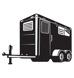 Horse trailer done in retro style vector