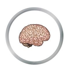 Human brain icon in cartoon style isolated on vector