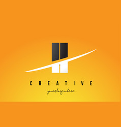 Ii i i letter modern logo design with yellow vector