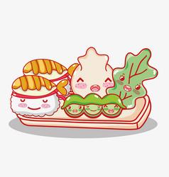 japanese gastronomy cute kawaii cartoons vector image