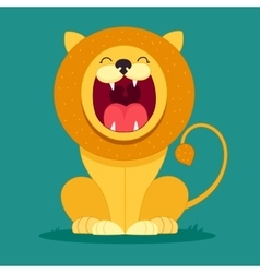 lion sits and snarls vector image