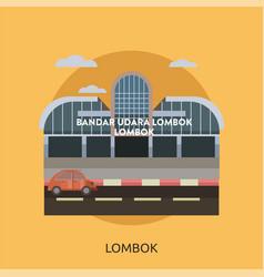 Lombok city of indonesia conceptual design vector