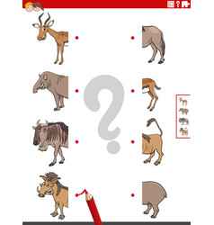 Match halves pictures with animals educational vector