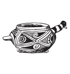 mexican duck jar sketched in the american museum vector image