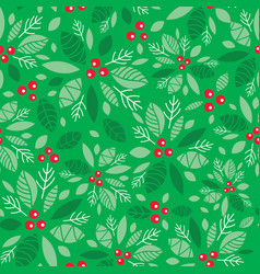 mint green holly berry holiday seamless vector image
