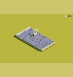 mobile isometric phone with gps vector image