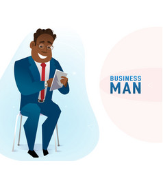 Modern business black man in the office sitting on vector
