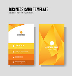 Modern yellow business card vertical template vector