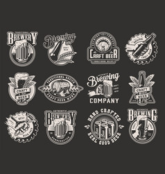 monochrome beer prints collection vector image
