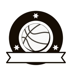 Monochrome emblem with basketball ball and ribbon vector
