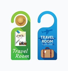 Paper door handle lock hangers concept travel vector