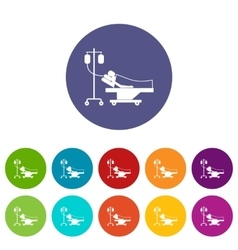 Patient in bed on a drip set icons vector