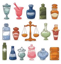 pharmacy bottles vintage medical drug glass vector image