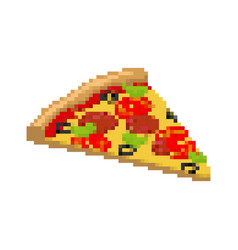 Pizza pixel art piece of pizza is pixelated fast vector