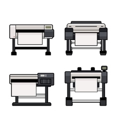Plotter Icons Set on White Background vector image