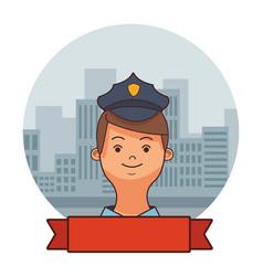 police man face cartoon vector image