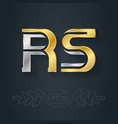 R and s initial gold and silver logo rs vector