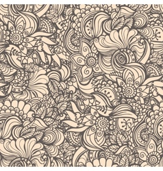 Seamless abstract waves pattern floral backgroun vector