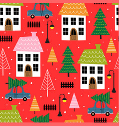 seamless pattern with small town in winter time vector image
