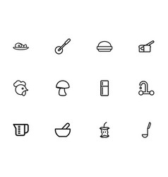 set of 12 editable food outline icons includes vector image