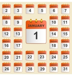 Set of icons for the calendar in January vector image