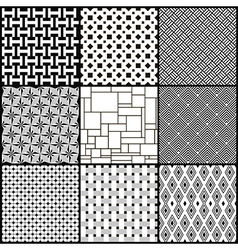 Set of nine black and white geometric seamless vector