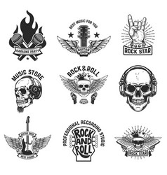 Set of rock music emblems isolated on white vector