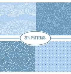 Set of sea seamless patterns tiling for abstract vector