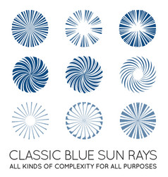 set sunburst rays sun in trendy classic vector image
