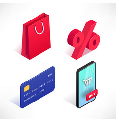 shopping online isometric icons set vector image