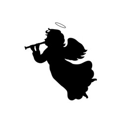 silhouette christmas angel with trumpet vector image