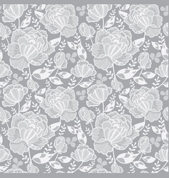 Silver grey decorative roses and leaves vector