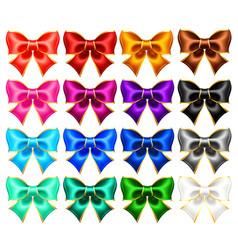 sixteen realistic bows with gold borders vector image