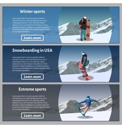 Snowboard theme banners set vector image