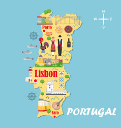 stylized map portugal travel with portuguese vector image
