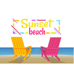 sunset on beach summer party colorful banner vector image