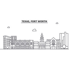 Texas fort worth architecture line skyline vector