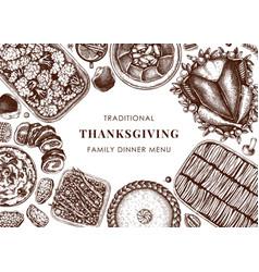 Thanksgiving day dinner menu design roasted vector