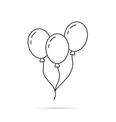 thin line balloon icon with shadow vector image