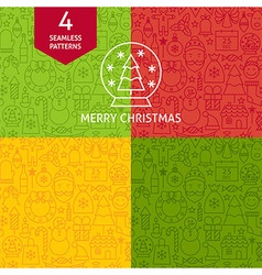 Thin Line Merry Christmas Holiday Patterns Set vector