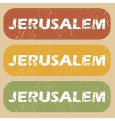 Vintage Jerusalem stamp set vector