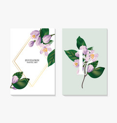 Watercolor realistic flower branch greenery leaves vector