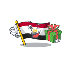 With gift flag egypt folded in mascot cupboard vector