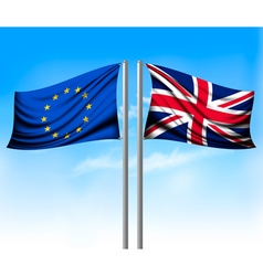 Wo separate flags - EU and UK Brexit concept vector
